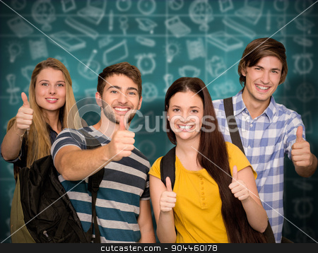 Composite image of happy students gesturing thumbs up at college stock photo, Happy students gesturing thumbs up at college corridor against green chalkboard by Wavebreak Media