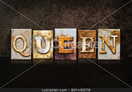 Queen Letterpress Concept on Dark Background stock photo, The word