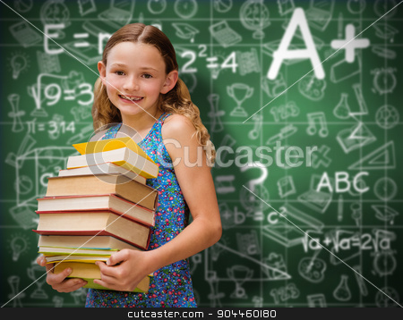 Composite image of cute little girl carrying books in library stock photo, Cute little girl carrying books in library against green chalkboard by Wavebreak Media