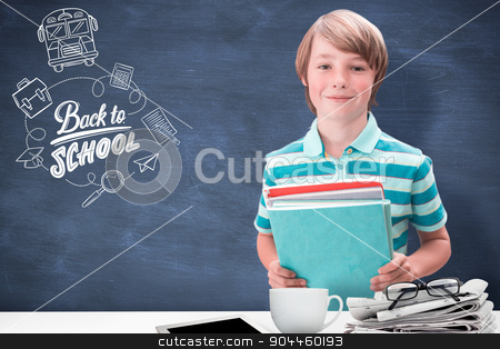 Composite image of cute pupil smiling at camera in library stock photo, Cute pupil smiling at camera in library against blue chalkboard by Wavebreak Media