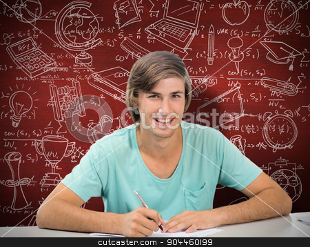 Composite image of student working stock photo, Student working against desk by Wavebreak Media