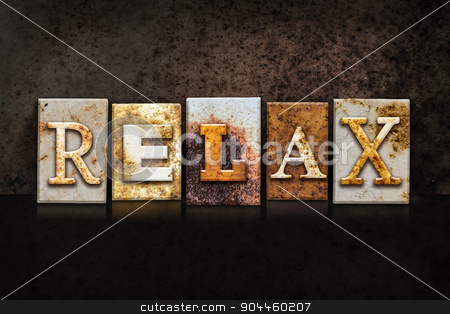 Relax Letterpress Concept on Dark Background stock photo, The word