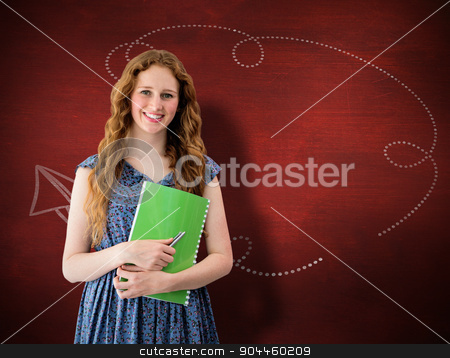 Composite image of happy student stock photo, Happy student against desk by Wavebreak Media