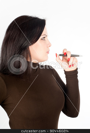 businesswoman standing with organizer stock photo, businesswoman standing with organizer diary and smiling by Aikon