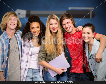 Composite image of cheerful college students in library stock photo, Cheerful college students in library against blue chalkboard by Wavebreak Media