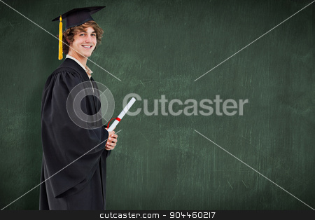 Composite image of profile view of a student in graduate robe stock photo, Profile view of a student in graduate robe against green chalkboard by Wavebreak Media