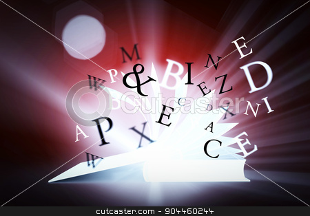 Composite image of letters stock photo, letters against red background with vignette by Wavebreak Media