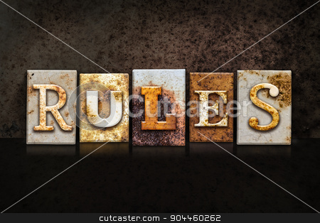 Rules Letterpress Concept on Dark Background stock photo, The word