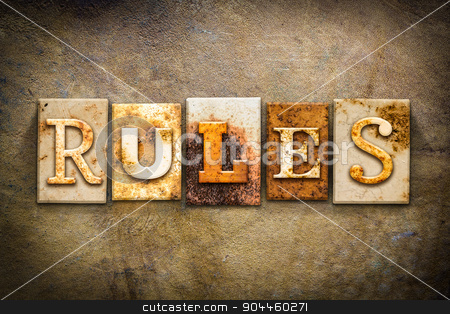 Rules Concept Letterpress Leather Theme stock photo, The word