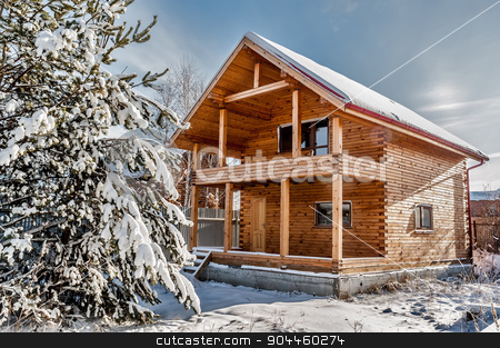 New house with pine stock photo, New residental house under construction in rural place by Aikon