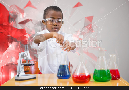 Composite image of cute pupil playing scientist stock photo, Cute pupil playing scientist against angular design by Wavebreak Media