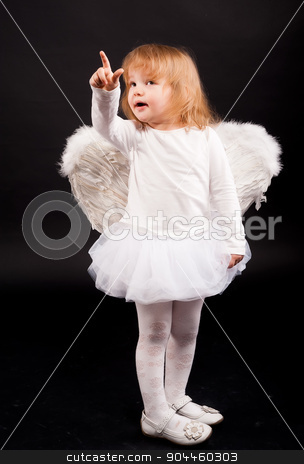 angel girl in white stock photo, Two years old baby girl wearing white angel wings over black background. by Aikon