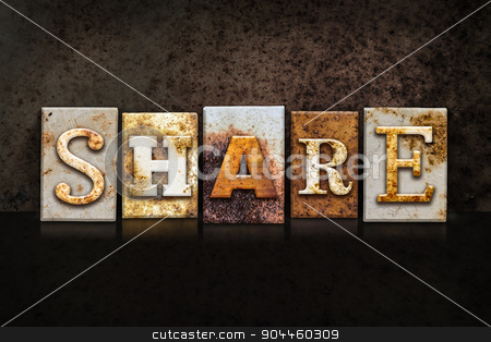 Share Letterpress Concept on Dark Background stock photo, The word