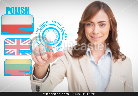 Composite image of portrait of businesswoman pointing her finger stock photo, Portrait of businesswoman pointing her finger at camera against white background with vignette by Wavebreak Media