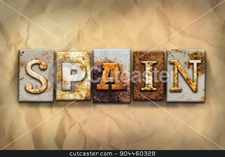 Spain Concept Rusted Metal Type stock photo, The word