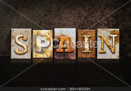 Spain Letterpress Concept on Dark Background stock photo, The word