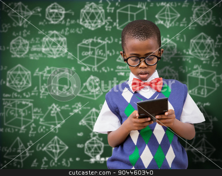 Composite image of pupil with calculator stock photo, Pupil with calculator against green chalkboard by Wavebreak Media