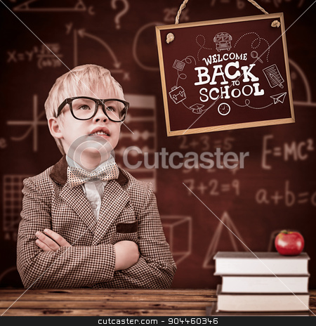 Composite image of cute pupil dressed up as teacher  stock photo, Cute pupil dressed up as teacher  against wooden planks background by Wavebreak Media