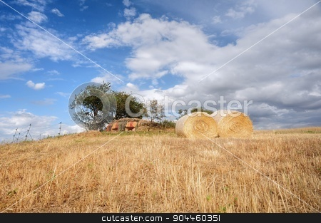 Straw bales stock photo, Bales of straw on the mown meadow under blue sky by Ondrej Vladyka