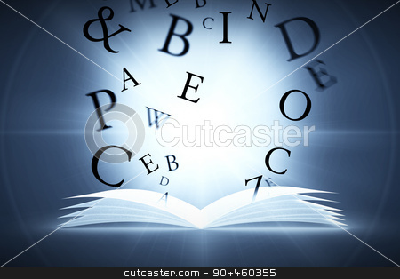 Composite image of letters stock photo, letters against black by Wavebreak Media