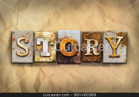 Story Concept Rusted Metal Type stock photo, The word