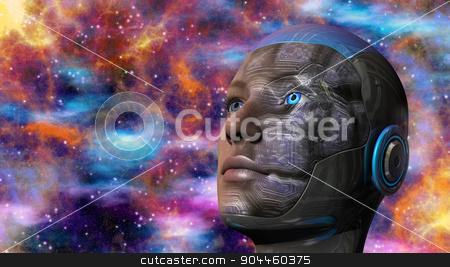 Cyborg Woman - Humanoid stock photo, Cyborg woman with deep space background by ANTONIOS KARVELAS