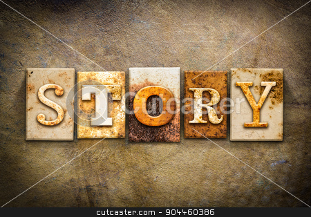 Story Concept Letterpress Leather Theme stock photo, The word