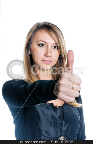 Woman with thumb up stock photo, Young woman showing ok gesture (thumb up) on isolated background by Aikon