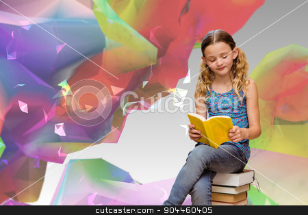 Composite image of cute little girl reading book in library stock photo, Cute little girl reading book in library against colourful abstract design by Wavebreak Media
