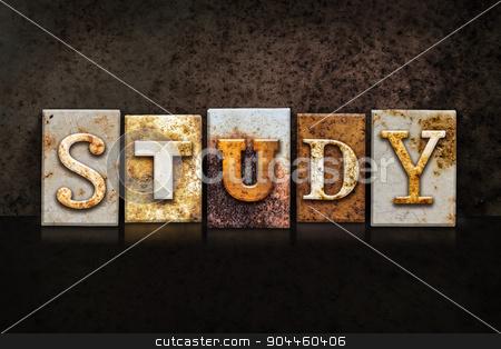 Study Letterpress Concept on Dark Background stock photo, The word