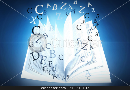 Composite image of letters stock photo, letters against blue background with vignette by Wavebreak Media