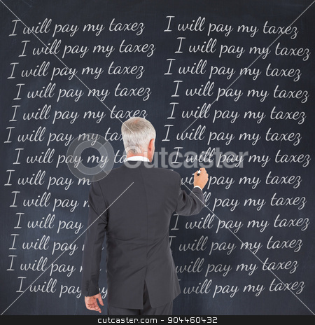 Composite image of rear view of businessman standing and writing stock photo, Rear view of businessman standing and writing against black background by Wavebreak Media