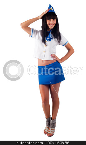 Young beautiful air hostess stock photo, Attractive young stewardess isolated over white background by Aikon