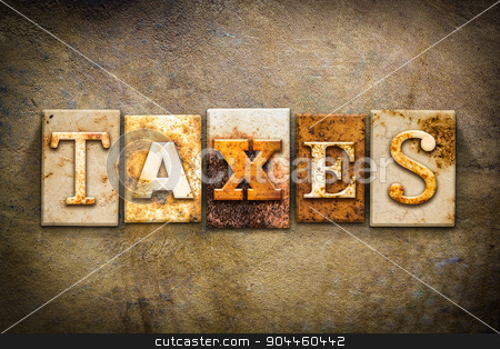 Taxes Concept Letterpress Leather Theme stock photo, The word