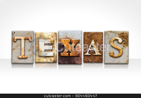 Texas Letterpress Concept Isolated on White stock photo, The word
