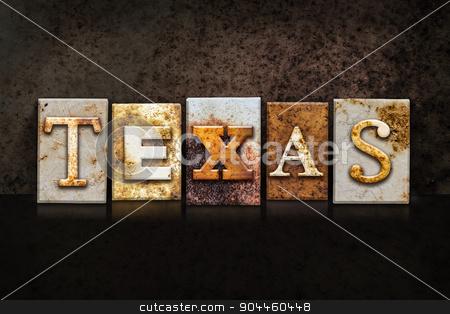 Texas Letterpress Concept on Dark Background stock photo, The word