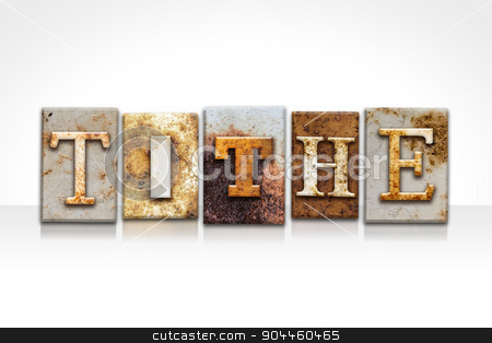 Tithe Letterpress Concept Isolated on White stock photo, The word
