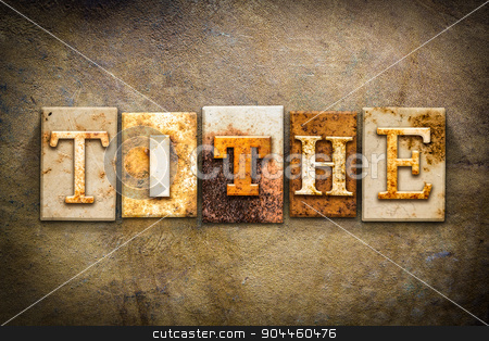 Tithe Concept Letterpress Leather Theme stock photo, The word