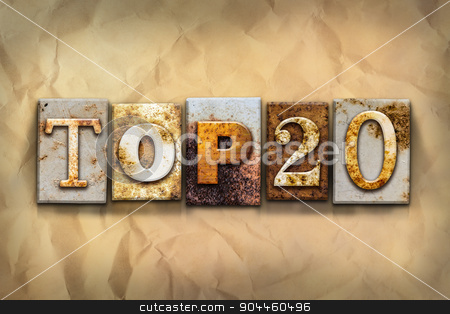Top 20 Concept Rusted Metal Type stock photo, The word