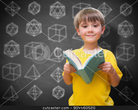 Composite image of happy pupil with book stock photo, happy pupil with book against black background by Wavebreak Media
