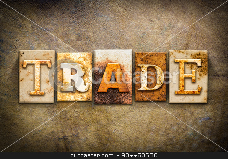Trade Concept Letterpress Leather Theme stock photo, The word
