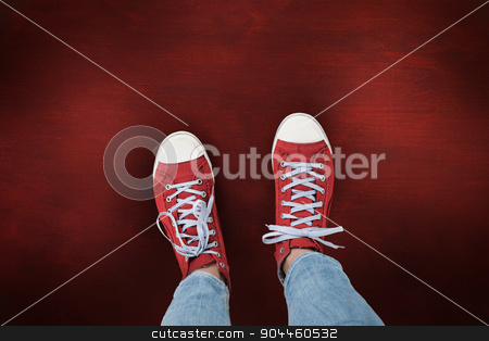 Composite image of casual shoes stock photo, Casual shoes against desk by Wavebreak Media