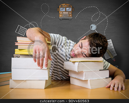 Composite image of student asleep in the library stock photo, Student asleep in the library against black background by Wavebreak Media
