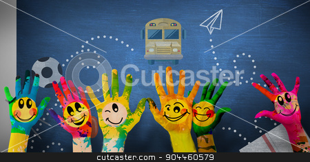 Composite image of hands with colourful smiley faces stock photo, Hands with colourful smiley faces against blue chalkboard by Wavebreak Media