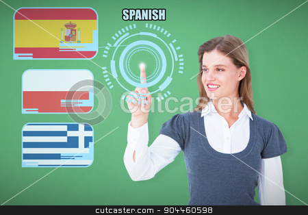 Composite image of smiling woman pointing something with her fin stock photo, Smiling woman pointing something with her finger against green by Wavebreak Media