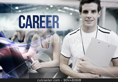 Career against spinning class instructor holding clipboard stock photo, The word career against spinning class instructor holding clipboard by Wavebreak Media