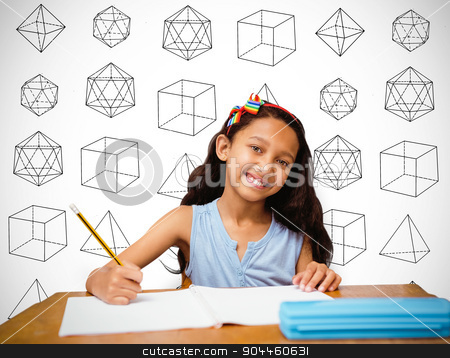 Composite image of pupil at her desk stock photo, Pupil at her desk against white background with vignette by Wavebreak Media