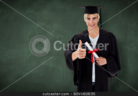 Composite image of happy teen guy celebrating graduation stock photo, Happy Teen Guy Celebrating Graduation against green chalkboard by Wavebreak Media