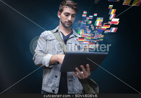 Composite image of student using tablet in library  stock photo, Student using tablet in library  against blue background with vignette by Wavebreak Media