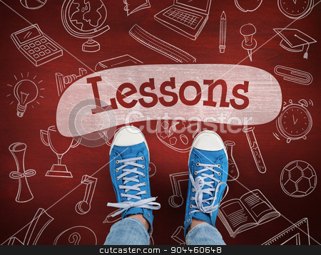 Lessons against desk stock photo, The word lessons and casual shoes against desk by Wavebreak Media